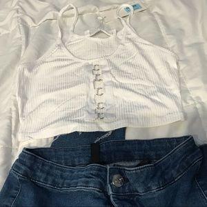 LF White Detailed Crop Top